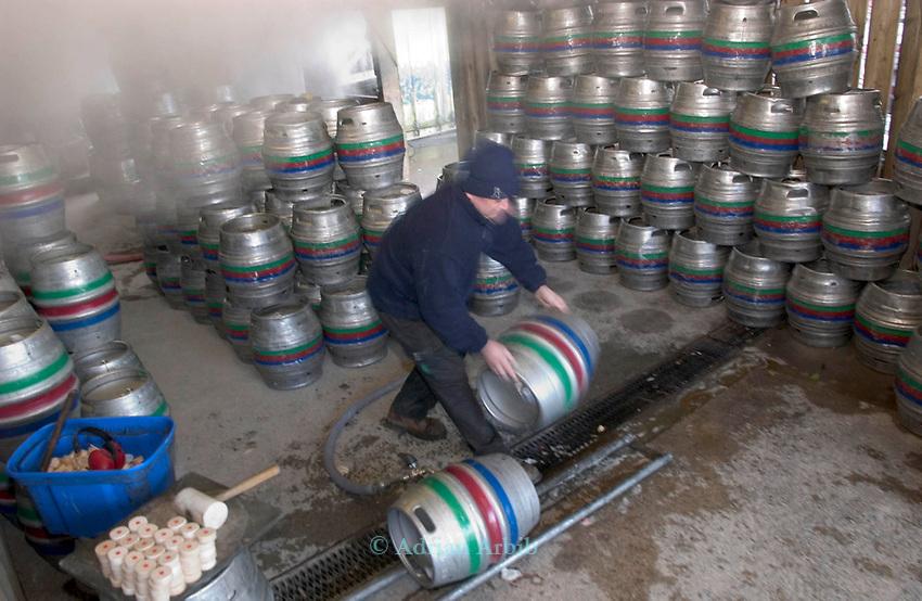 Filling barrels at the Otter micro Brewery, Near Luppitt, South Devon.