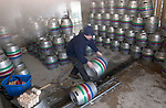 Filling barrels at the Otter micro Brewery, Near Luppitt, South Devon.
