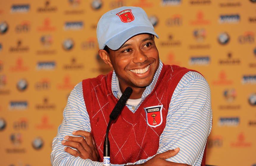 USA's Tiger Woods during Press Conference <br /> <br /> Ryder Cup 2010 - Practice day 1 - 28th September 2010 - Celtic Manor Resort Newport, Wales.  Please Credit - Ian Cook - www.ijcsports.co.uk