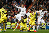 Real Madrid´s Portuguese forward Cristiano Ronaldo and Villareal´s E. Bailly in the penalty action