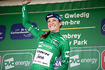 Lizzie Deignan (GBR) Trek-Segafredo celebrates after winning the overall title of the 2019 OVO Women's Tour at the end of Stage 6, running 125.9 km from Carmarthen to Pembrey, Wales. 15th June 2019.  <br /> Picture: Trek/Balint Hamvas/Velofocus | Cyclefile<br /> <br /> <br /> All photos usage must carry mandatory copyright credit (© Cyclefile | Trek/Balint Hamvas/Velofocus)