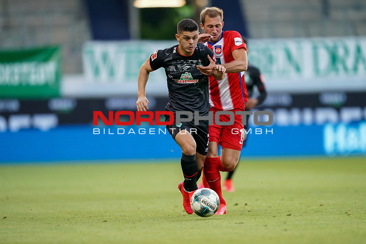 Milot Rashica (Werder Bremen #07), Jonas Föhrenbach / Foehrenbach (1. FC Heidenheim 1846 #19)<br /> <br /> <br /> Sport: nphgm001: Fussball: 1. Bundesliga: Saison 19/20: Relegation 02; 1.FC Heidenheim vs SV Werder Bremen - 06.07.2020<br /> <br /> Foto: gumzmedia/nordphoto/POOL <br /> <br /> DFL regulations prohibit any use of photographs as image sequences and/or quasi-video.<br /> EDITORIAL USE ONLY<br /> National and international News-Agencies OUT.