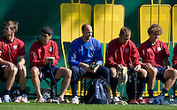 From left to right, Brian McBride, Claudio Reyna, Kasey Keller, Jimmy Conrad, and Chris Albright get ready for training in Hamburg, Germany, for the 2006 World Cup, June, 8, 2006.