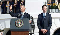 United States President Barack Obama, left, hosts an Arrival Ceremony opening the Official Visit of Prime Minister Justin Trudeau of Canada, right, on the South Lawn of the White House in Washington, DC on Thursday, March 10, 2016. Photo Credit: Olivier Douliery/CNP/AdMedia