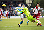 St Johnstone v Rangers&Ouml;21.05.17     SPFL    McDiarmid Park<br /> Jak Alnwick clears from the toes of Chris Kane<br /> Picture by Graeme Hart.<br /> Copyright Perthshire Picture Agency<br /> Tel: 01738 623350  Mobile: 07990 594431