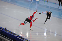SPEEDSKATING: SOCHI: Adler Arena, 24-03-2013, Essent ISU World Championship Single Distances, Day 4, 500m Ladies, Jennifer Plate (GER), Lauren Cholewinski (USA), © Martin de Jong