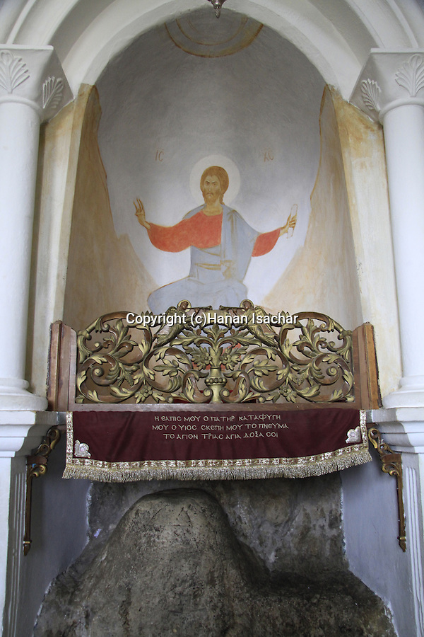 The rock where Jesus was tempted at the Greek Orthodox Quarantal Monastery on the Mount of Temptation