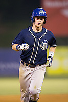 Brendan Rodgers (1) of the Asheville Tourists rounds the bases after hitting a 3-run home run in the top of the 11th inning against the Kannapolis Intimidators at Kannapolis Intimidators Stadium on May 26, 2016 in Kannapolis, North Carolina.  The Tourists defeated the Intimidators 9-6 in 11 innings.  (Brian Westerholt/Four Seam Images)