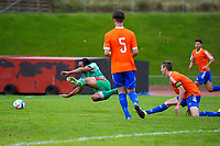 Paul Ifill is fouled during the Central League football match between Wellington United and Wairarapa United at Newtown Park in Wellington, New Zealand on Saturday, 29 April 2017. Photo: Dave Lintott / lintottphoto.co.nz