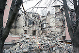 zerstörtes haus,  Myronivsky nahe Debaltsewo nach dem Abkommen von Minsk zu Beginn des Waffenstillstandes, 15.02.2015/   Myronivsky near Debaltseve after the  Minsk deal at the Begining of ceasefire_15.02.2014