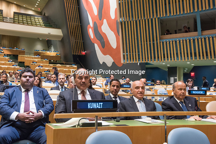 72 General Debate – 20 September <br /> <br /> 1His Highness Sheikh Jaber Al-Mubarak Al-Hamad Al Sabah, Prime Minister of the State of Kuwait<br /> <br /> Delegate of Prime Minister of the State of Kuwait, Waiting  patiently to be correctly announce