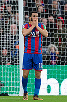 Andros Townsend of Crystal Palace reaction after he misses an opportunity during the Premier League match between Crystal Palace and Manchester City at Selhurst Park, London, England on 31 December 2017. Photo by Andy Rowland.