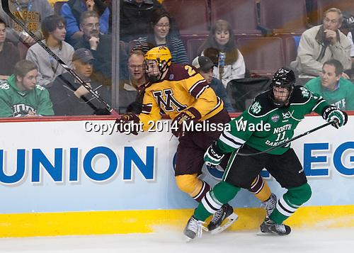 Brady Skjei (MN - 2), Derek Rodwell (North Dakota - 11) - The University of Minnesota Golden Gophers defeated the University of North Dakota 2-1 on Thursday, April 10, 2014, at the Wells Fargo Center in Philadelphia to advance to the Frozen Four final.