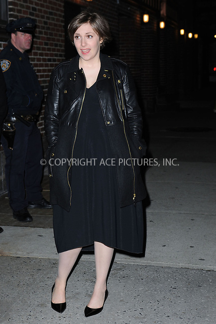 WWW.ACEPIXS.COM <br /> January 6, 2014 New York City<br /> <br /> Lena Dunham leaving the Late Show with David Letterman on January 6, 2014 in New York City.<br /> <br /> Please byline: Kristin Callahan  <br /> <br /> ACEPIXS.COM<br /> Ace Pictures, Inc<br /> tel: (212) 243 8787 or (646) 769 0430<br /> e-mail: info@acepixs.com<br /> web: http://www.acepixs.com