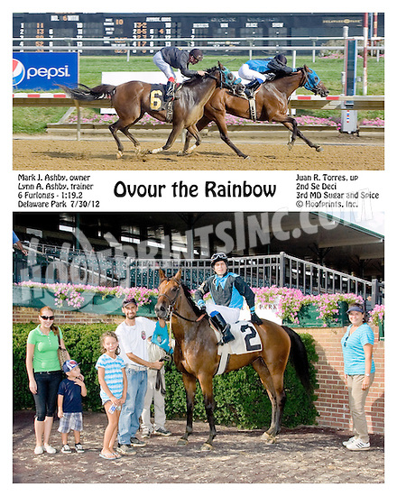 Ovour the Rainbow winning before being disqualified at Delaware Park on 7/30/12