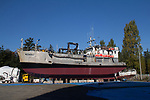Port Townsend, salmon packer, Muskrat, on the hard, Boat Haven Marina, boat repair, fishing boats, Puget Sound, Jefferson County, Olympic Peninsula, Washington State, Pacific Northwest, United States,