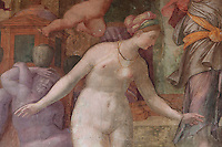 Detail of Disappointed Venus, fresco by Rosso Fiorentino, 1535-37, in the Galerie Francois I, begun 1528, the first great gallery in France and the origination of the Renaissance style in France, Chateau de Fontainebleau, France. The Palace of Fontainebleau is one of the largest French royal palaces and was begun in the early 16th century for Francois I. It was listed as a UNESCO World Heritage Site in 1981. Picture by Manuel Cohen
