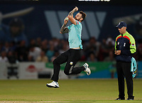 Jordan Clark bowls for Surrey during Kent Spitfires vs Surrey, Vitality Blast T20 Cricket at the St Lawrence Ground on 23rd August 2019