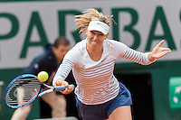 June 1, 2015: Maria Sharapova of Russian Federation in action in a 4th round match against Lucie Safarova of Czech Republic on day nine of the 2015 French Open tennis tournament at Roland Garros in Paris, France. Safarova won 76 64. Sydney Low/AsteriskImages