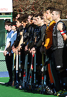 The Black Sticks line up before the match during the international hockey match between the New Zealand Black Sticks and Malaysia at Fitzherbert Park, Palmerston North, New Zealand on Sunday, 9 August 2009. Photo: Dave Lintott / lintottphoto.co.nz