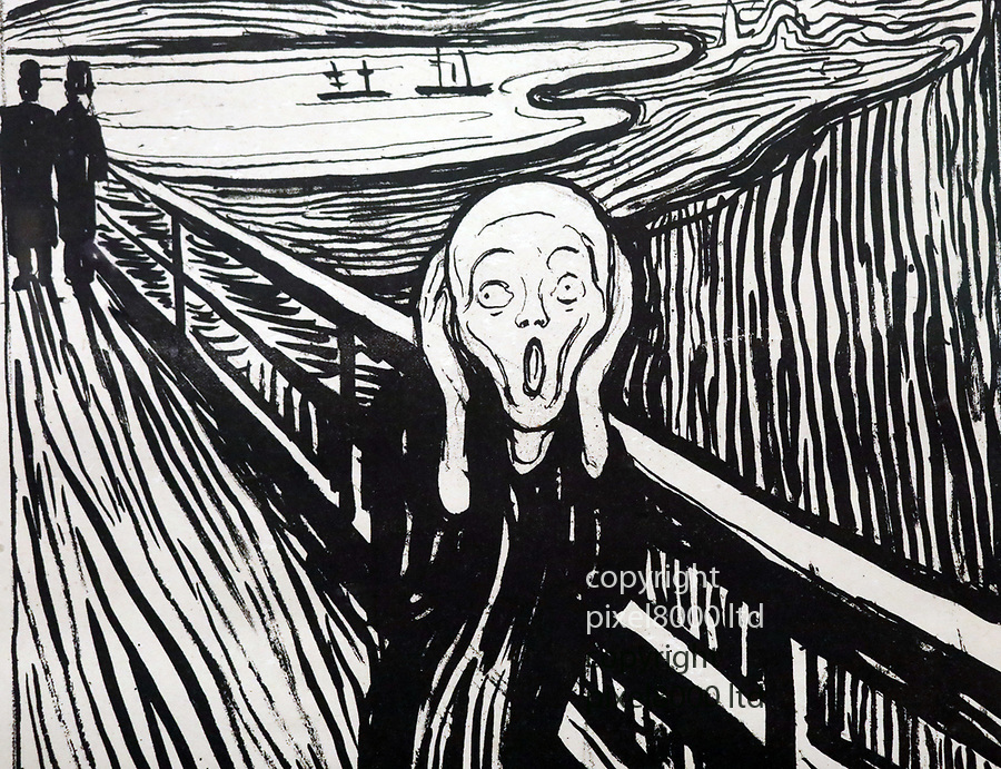Pic shows: Hanging of The Scream by Edvard Munch from Norway. Created in 1895<br /> <br /> Black and White Lithograph version.<br /> <br /> This was the original black and white version that made the painting famous. This was because they could not reproduce the colour version in books at the time<br /> <br /> <br /> <br /> <br /> <br /> <br /> pic by Gavin Rodgers/Pixel8000