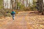 Hiking Ricketts Glen trail with walking sticks. Robbie Cross.