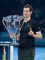 Andy Murray (GBR) with the ATP World Number One Trophy after his win in the final against Novak Djokovic (SRB), ATP World Tour Finals 2016, Day Eight, O2 Arena, Peninsula Square, London, United Kingdom, 20th Nov 2016