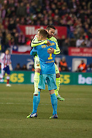 Barcelona´s Marc-Andre Ter Stegen and Jordi Alba during 2014-15 Spanish King Cup match between Atletico de Madrid and Barcelona at Vicente Calderon stadium in Madrid, Spain. January 28, 2015. (ALTERPHOTOS/Luis Fernandez) /nortephoto.com<br />