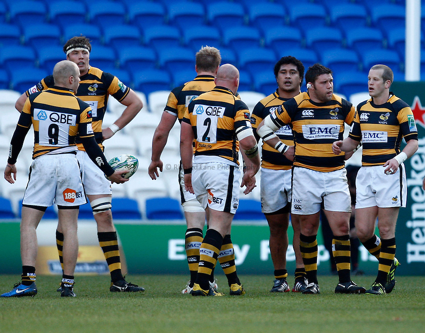 Photo: Richard Lane/Richard Lane Photography. Newport Gwent Dragons v London Wasps. Heineken Cup. 12/12/2010. Wasps players.