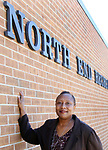 WATERBURY CT. 17 October 2017-101717SV05-Susan Goodman stands outside North End Rec Center on North Main Street in Waterbury Tuesday.  Community activists, seek to rename the North End Rec Center for Dr. Chris Love, who was killed 24 years ago.<br /> Steven Valenti Republican-American