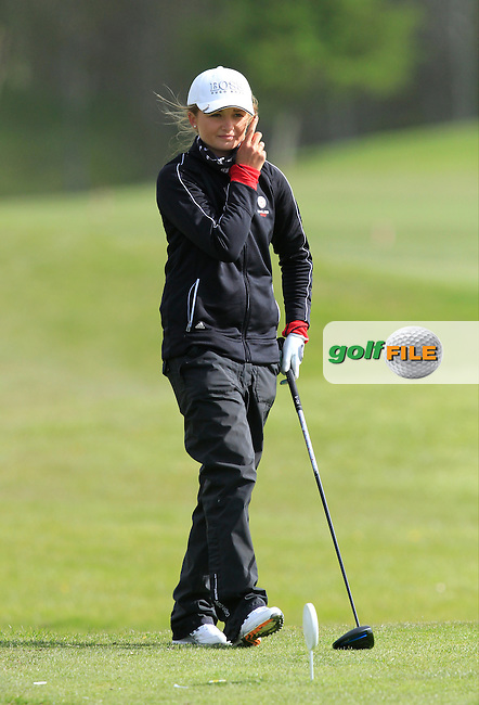 Sophie Lamb (ENG) on the 13th tee during Round 1 of The Irish Girls Open Strokeplay Championship in Roganstown Golf Club on Saturday 18th April 2015.<br /> Picture:  Thos Caffrey / www.golffile.ie