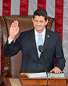 United States Representative Paul Ryan (Republican of Wisconsin) is sworn-in as the 54th Speaker of the US House of Representatives in the US House Chamber in the US Capitol in Washington, DC on Thursday, October 29, 2015.<br /> Credit: Ron Sachs / CNP