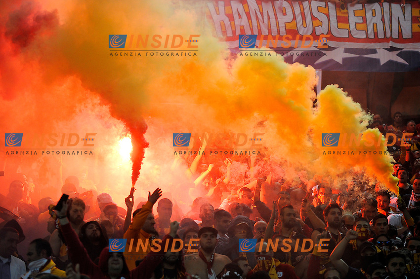 Supporters of Galatasaray team<br /> Torino 02-10-2013 Juventus Stadium<br /> UEFA Champions League 2013/2014<br /> Football Calcio Juventus vs Galatasaray<br /> Foto Insidefoto Giorgio Perottino