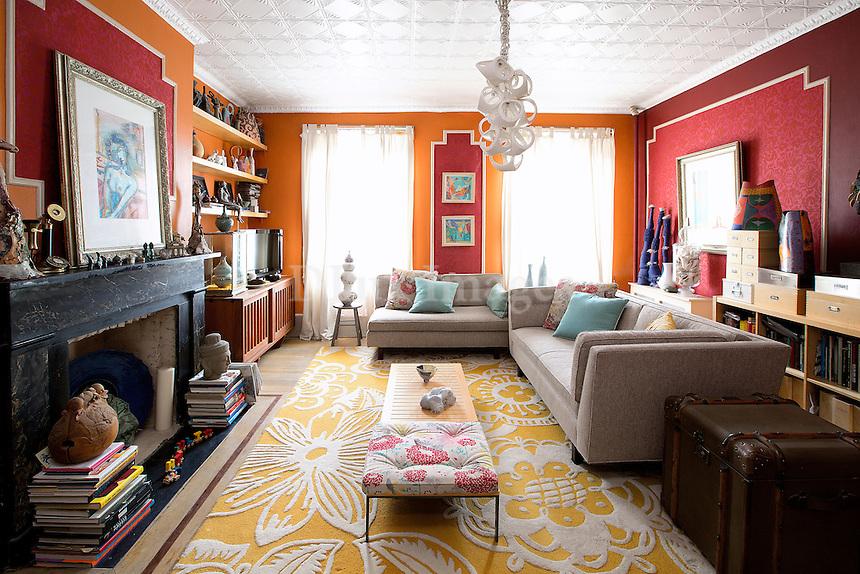 living room decorated with ceramics