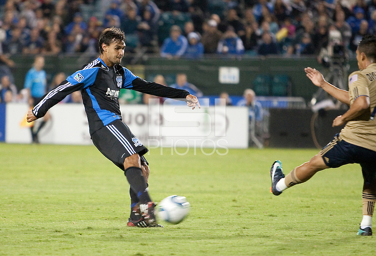 Chris Wondolowski shoots the ball. The San Jose Earthquakes defeated the Philadelphia Unioin 1-0 at Buck Shaw Stadium in Santa Clara, California on September 15th, 2010.