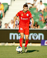 11th January 2020; HBF Park, Perth, Western Australia, Australia; A League Football, Perth Glory versus Adelaide United; Nathan Konstandopoulos of Adelaide United controls the ball in midfield - Editorial Use