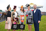 Best Dressed lady finalists at the Listowel Races on Friday Pictured Pippa Ormond O'Connor (Judge),   Grainne Greville, Tyrone, Elaine Moriarty, Killarney, and Mary Houlihan and Daithi O Se (Judge)