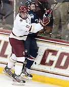 Chris Calnan (BC - 11), Ryan Segalla (UConn - 3) - The Boston College Eagles defeated the visiting University of Connecticut Huskies 3-2 on Saturday, January 24, 2015, at Kelley Rink in Conte Forum in Chestnut Hill, Massachusetts.
