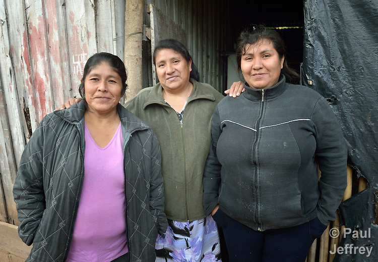 Sonia Jimenez (left), Nelida Alpiri, and Noemi Ortega are Guarani indigenous leaders in Bananal, a small village in the Chaco region of Argentina where residents have struggled to defend their land and their rights against giant agro-export plantations and cattle raisers.