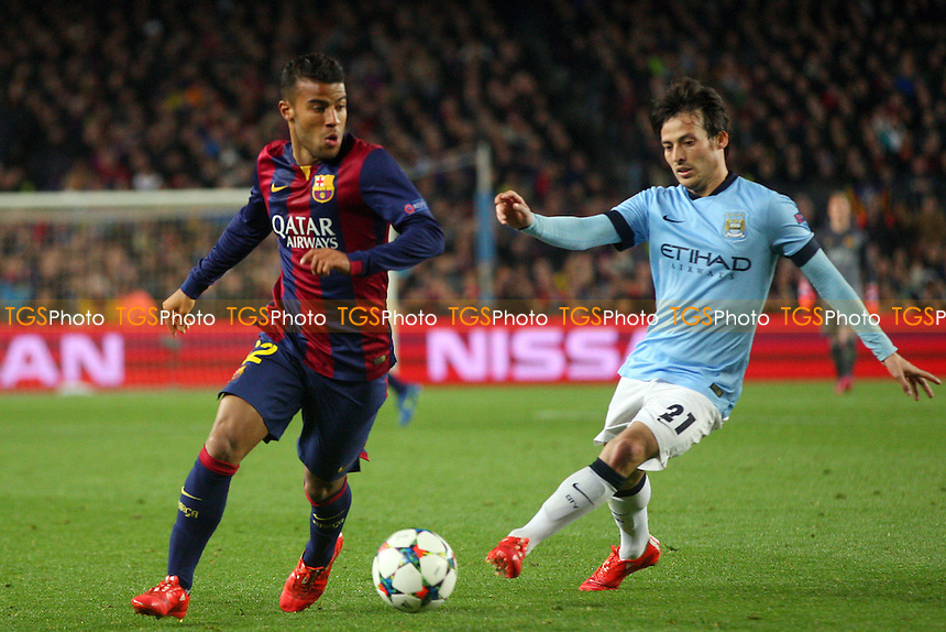 Daniel Alves of FC Barcelona and David Silva of Manchester City - FC Barcelona vs Manchester City - European Champions League Round of Sixteen Football at the Camp Nou Stadium on  18/03/15 - MANDATORY CREDIT: Dave Simpson/TGSPHOTO - Self billing applies where appropriate - 0845 094 6026 - contact@tgsphoto.co.uk - NO UNPAID USE