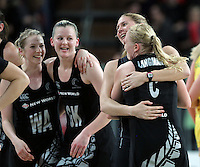 20.09.2012 Silver Ferns (l-R) Camilla Lees, Katrina Grant, Casey Williams and Laura Langman celebrates during the second netball test match between the Silver Ferns and the Australian Diamonds played at Vector Arena in Auckland. Mandatory Photo Credit ©Michael Bradley.