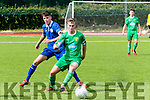 Cian Lynch, Cabinteely FC keeps to the goal side of Kerry captain Darren Loughnane when the sides clashed in Mounthawk Park, Tralee last Sunday in the Airtricity U17 league.