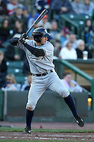 Scranton Wilkes-Barre Yankees designated hitter Jordan Parraz #8 at bat during a game against the Rochester Red Wings at Frontier Field on April 9, 2011 in Rochester, New York.  Rochester defeated Scranton 7-6 in twelve innings.  Photo By Mike Janes/Four Seam Images