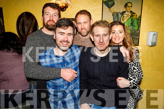 Martin Stackpoole and Padraig Boyle seated and standing l to r: Patrick Cordon, Liam Boyle and Catriona O'Grady enjoying the evening in Sean Óg's bar on Friday.
