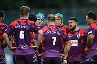 UK Armed Forces players huddle together after conceding a score. Remembrance Rugby match, between Bath United and the UK Armed Forces on May 10, 2017 at the Recreation Ground in Bath, England. Photo by: Patrick Khachfe / Onside Images