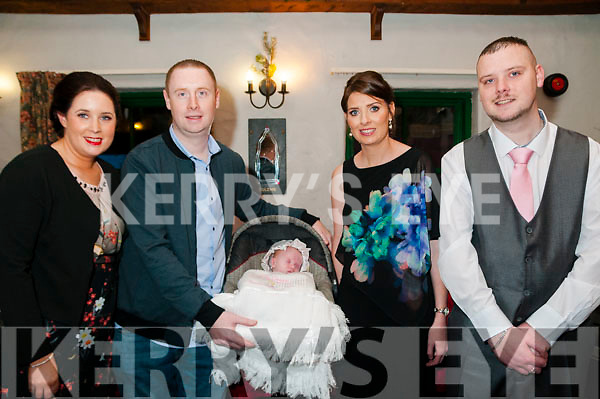 Baby Evie Grace with her parents Lisa & Paudie O'Sullivan, Ballydonoghue & Perth, Australia and god parents Maura O'sullivan & Daniel O'Regan who was christened in Ballydonoghue Church by Fr. Lawlor on Saturday last and afterwards at the Thatch Bar, Liselton.