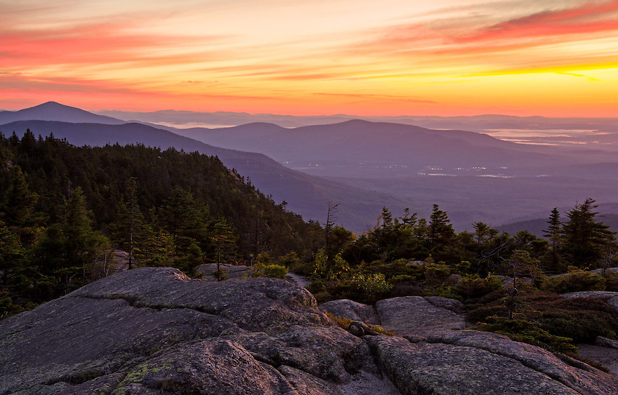 A picture perfect sunrise over North conway as seen from this White Mountain Peak.