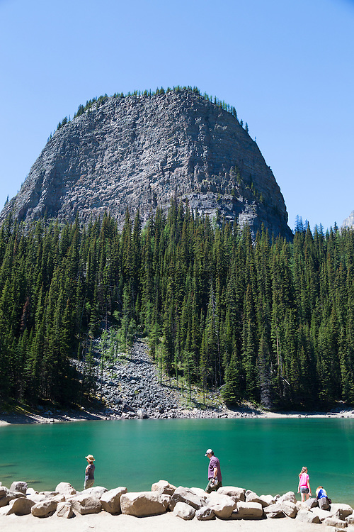 The landform known as the Big Beehive above Mirror Lake as seen from the trail hike up to Agnes Lake and the teahouse from the Fairmont Lake Louise.