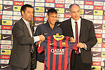 03.06.2013 Barcelona, Spain. Neymar (Neymar da Silva Santos Júnior) press conference after presentation as a new Barcelona player, after his transfer from Santos of Brazil at Barcelona headquarters, Spain.