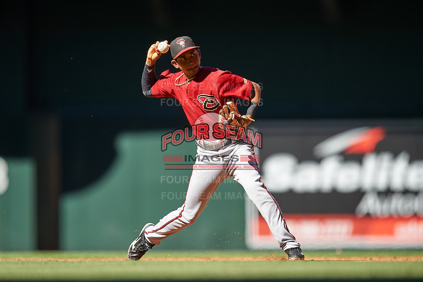 Arizona Diamondbacks Jose King (4) during an Instructional League game against the Oakland Athletics on October 15, 2016 at Chase Field in Phoenix, Arizona.  (Mike Janes/Four Seam Images)